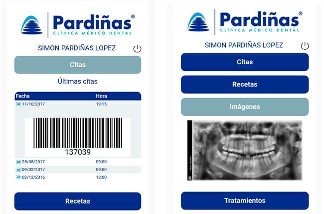 Interfaz de la aplicación de Clínica Pardiñas