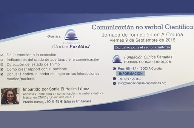 """Sonia El Hakim López impartirá el 9 de septiembre un curso de """"Comunicación no verbal científica"""" en las instalaciones de Fundación Clínica Pardiñas."""