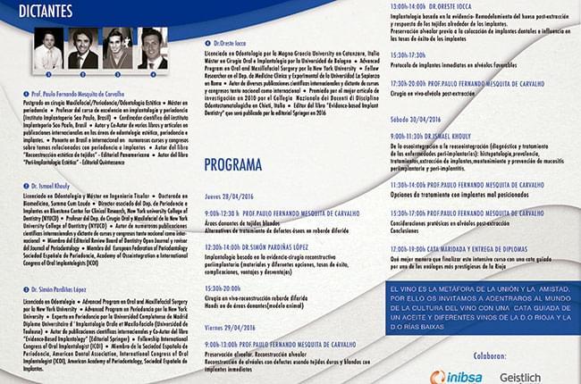 Programa del Curso de Implantología y Periodoncia en Fundación Clínica Pardiñas