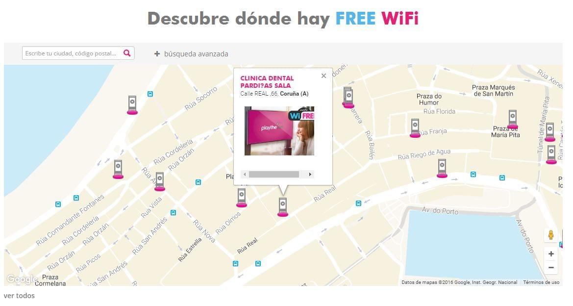 Mapa de puntos de Wifi gratuito en el centro de A Coruña